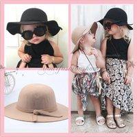 big felt hats - Baby Wool Felt Hat Winter Girls Gorgeous Bowknot Big Brim Floopy Hats Cap Kids Accessories Children Fedoras Casual Caps colors L252 Z