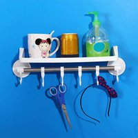 Wholesale Suction Cup Wall Mounted Kitchen Storage Baskets Shelf Bathroom Holder Towel Racks with Hooks Kitchen Organizer Spice Rack JI0176