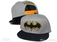 batman fitted cap - Grey Batman Cartoon Snapback Hats for Children with Black Brim Blank Inside Youth Caps Mix Order Hip Hop Street Caps Beanies Fitted Cap