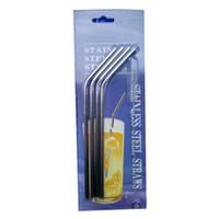 Wholesale 304 Stainless Steel Straw Metal Drinking Straw Beer Juice Straws Cleaning Brush Set Retail Packing Kit Fits forYeti Tumbler Rambler Cups