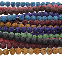 lava rock - 15 quot A Strand Natural Lava Rock Round Stone Beads Spacer Beads mm For DIY Jewelry Making