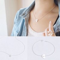 Wholesale sterling silver necklace and bracelet sets heart charms pendant simple and fashion lady jewelry