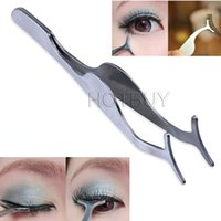 Wholesale False Eyelashes Curler Extension Lash Mascara Applicator Remover Stainless Steel Tweezers Clip Makeup Cosmetic