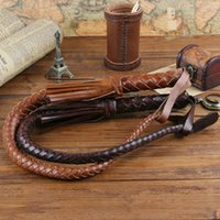 Wholesale Genuine cow leather horsewhip Handmade horse riding romal lash Quality Equestrian sports Brown Coffe color whip