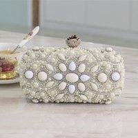 beaded handles - Luxury Imitation Pearls Diamonds Bridal Handbags Fashion New Arrival Flap Cultch Double Handle Wedding Party Bags EN5212