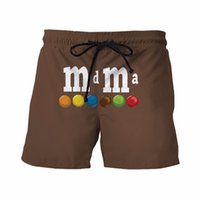 bean board - Newest Style Mens Brown Short Pants MM Chocolate Beans Prints D Shorts Male Funny Sport Board Shorts Casual Beach Shorts