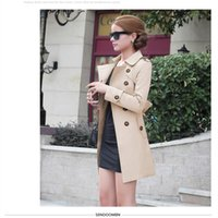 Wholesale Hot Sale High Quality Women Long Sleeve Trench Double Breasted Trench Coat Outwear pc Plus Size Trench Coat For Women Costs