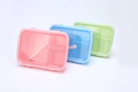 bento box lunches - Rectangle Crisper Color Compartment Portable Bento Microwave Lunch Box Picnic Container Storage Spoon Food Grade PP BPA Free