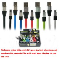 apple tablet display - 3FT Metal Flat Noodle Micro USB Cable A Data Sync Fast Charging Adapter Cords for Mobile Phone Micro Tablet Get Free Display