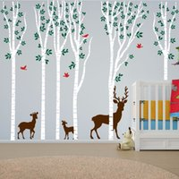 aspen decor - Birch Tree Wall Decal Aspen Forest Birds Deer Vinyl Sticker Nursery Art Decor Size