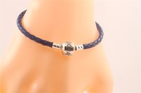 american ale - Fits For Pandora Style Sterling Silver Clip Clasp Charms Women Gift s925 ALE Blue Genuine Leather Bracelet DIY Jewelry