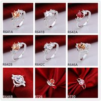 Wholesale 10 pieces diffrent style women s sterling silver rings DFMR23 brand new wedding gemstone silver ring factory direct sale