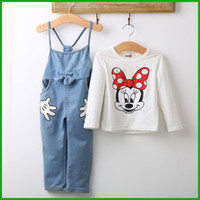 bib overalls denim - Girl overall set Baby Minnie Mouse Tops T shirt Bib Denim Pants Outfits Set Costume children female hot selling suits fashion cartoon style