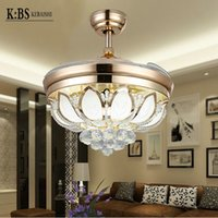 Wholesale Invisible Crystal ceiling fan light fan lights restaurant minimalist modern living room Stealth fan with LED Ceiling Fans