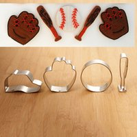 baseball cookies - DHL Baseball Shape Cookie Cutter for Kid s Baking Stainless Steel Baseball Stick Hat Glove Shape Biscuit Cookie Mould Set