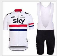 Wholesale 2016 Hot Sale Sky Team Pro Cycling Jersey Short Sleeve Quick Dry Racing Bicycle Ropa Ciclismo Cycling Cloth Bib Pants White Black Bike Wear