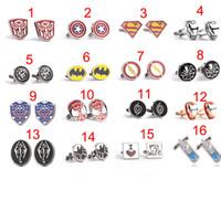 Wholesale 16 Style Transformers Cufflinks for Men Fashion Cuff Links Cartoon Superman zelda Novelty Cufflinks Men Jewelry Cuff Links Accessories DHL