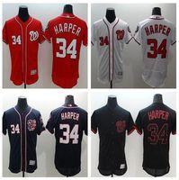 baseball stars - Men s Washington Nationals Bryce Harper Majestic Scarlet Fashion Stars Stripes Cool Base Player Jersey Independence Day Baseball Jerseys