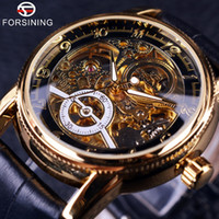 automatic gear - 2016 Forsining brand Hollow Engraving Skeleton Casual Designer Black Golden Case Gear Bezel Watches Men Luxury Brand Automatic Watches