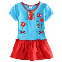 Wholesale The summer wear short sleeved cotton Skirts Dress Girls Summer Flower Dress