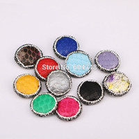 Wholesale 10pcs Druzy Gem Stone with Snakeskin Pattern Connector Beads in Mixed color Crystal Zircon Paved Round Shape Beads Findings