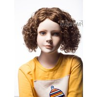 Wholesale Japan s Hair Synthetic Wigs Brown Curly Perruque Synthetic Hair Style Peruca Pelucas Sinteticas For Children Natural Cheap Hair Wig