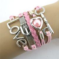 Wholesale Fabulous Fashion Infinity Heart Love Key Leather Alloy Charm Bracelet Pink Charm Bracelet