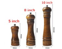 Wholesale Kitchen Classical Tools Oak Wood Pepper Mill Salt Grinder quot quot quot Natural Wooden Spice Grinding Mechanism Kitchenware D859L