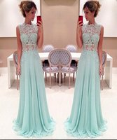 Wholesale Charming Lace Prom Dress Long Light Sky Blue High Neck Lace Appliques Illusion Top Floor Length Chiffon Cheap Evening Party Dresses