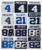 Wholesale Dallas Cowboys DAK PRESCOTT Women s football jersey Ezekiel Elliott Dez Bryant Jason Witten white blue Soccer rugby jerseys