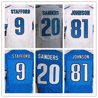 barry sanders - Best Quality men s Matthew Stafford Barry cheap Sanders Johnson Stitched elite jersey White and blue size S XXXL