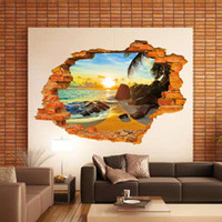 beach bathroom lighting - Sunset beach tropical D wall stickers broken wall paper PVC can be removed waterproof wall stickers