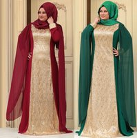 A-Line beaded hijab cap - 2016 muslim evening dresses hijab set islamic arabic kaftans dresses dubai abayas muslim evening gowns islamic clothing