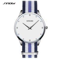 al por mayor sinobi montre-SINOBI Moda Mujer Reloj 30 Metres Impermeable Montre Mujer Nylon Banda Relojes Mujer Marcas famosas Relojes Mujer 2016