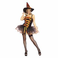 adult braces - Halloween Sexy Adult Witch Costume For Women Orange Fashion Braces Tutu Dress With Witch Hat Carnival Party Costume