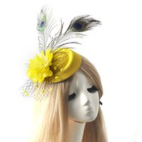 Wholesale 6 colors for choose ladies headwear bridal wedding party proms fancy dress accessory mini pillbox hat flower feather fascinator hair clip