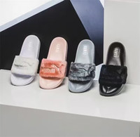 Wholesale 2016 Leadcat Fenty Rihanna Shoes Women Slippers Indoor Sandals Girls Fashion Scuffs Pink Black White Grey Slide Eur36 Hot Sale