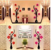 arcylic art - 3D DIY Vase Flower Plum Tree Arcylic Wall Sticker Home Room TV Decor Vinyl Art