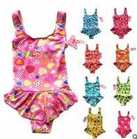 Wholesale Beach Cnlumy summer Swim children kid one Piece swimsuit cute cartoon color Polka Dot HOT SALE girl swimwear beachwear bathing suit DHL