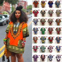 Wholesale 20P African Dashiki Dresses For Women Men African Clothes Hippie Shirt Caftan Vintage Unisex Tribal Mexican Top Bazin Riche Ethnic Clothing