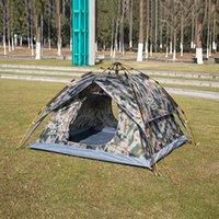 Portable al aire libre de doble capa impermeable anti-UV Pesca Tiendas de campaña Camuflaje de apertura automática rápida 3-4 Person Tent salebags MA0147