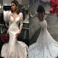 arabic robe - 2016 New Sheer Crew Neck Button Back Mermaid Wedding Dresses Arabic Long Sleeves Lace Appliques Robe De Mariage Sweep Train Bridal Gowns