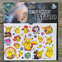 Wholesale Poke Yellow Pikachu Temporary Fake Flash Tattoo Stickers Waterproof Body Arm Tattoo Paste Paper for Kids Toys