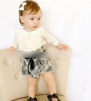 dolls clothes - Baby Girls Outfit New Lace Fall doll lapel long sleeve T shirt tops Bows lace high waist shorts Toddler Clothing Sets Casual Suit