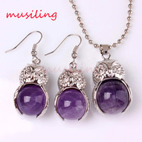 amethyst owl pendant - Pendant Necklace Earrings Jewelry Set Owl Natural Gem Stone Jewelry Sets Amethyst Crystal Opal etc Accessories Fashion Charms Amulet Jewelry