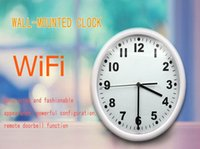 Wholesale Motion detection HD P Wireless WIFI Camera Round Digital Wall mounted Clock Camera Mini Camcorders Home security baby monitor