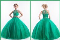 Wholesale Green Girls Pageant Dresses High Neck Floor length Beads Ruffle Cupcake Flower Girl Ball Gowns Prom Party Dress For Girls Lovely