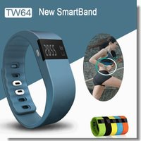 Wholesale TW64 Smart Watch Fitness Activity Tracker Smartband Wristband Waterproof Bluetooth Intelligent Bracelet for Ios android Colors Via DHL