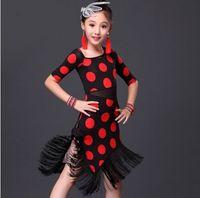 Wholesale 2016 Dress Kids For Latin Dance Children Costumes Latino Dance Dress Girls Ballroom Dance Dresses Girl Flamenco Dots Dance Skirts