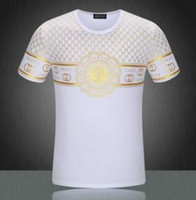 Wholesale 2017GUCCI MEN S SHORT SLEEVED SHIRTS T SHIRTSn Luxury Casual Slim Fit Stylish T Shirt With black Sleeve Colors Size